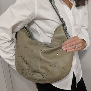 Coach green leather hobo bag w rivets & studs